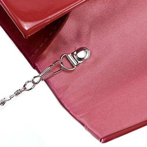 Anladia - Bolso de Mano Cartera de Mano de Mujer Faux Suede Terciopelo Tipo Clutch con Cadena Larga de 116cm Cierre de Imán para Fiesta Cena Boda Salidas Rojo