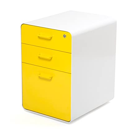 Poppin White + Yellow West 18th 3 Drawer File Cabinet