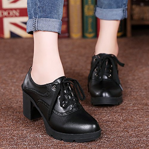 Chunky Shoes Oxfords Mid Black Pumps Leather Moonwalker Heel Dress Women's qawT4gAZ