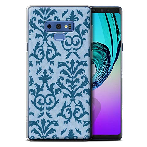 - STUFF4 Gel TPU Phone Case/Cover for Samsung Galaxy Note 9/N960 / Blue Design/Scroll Pattern Collection