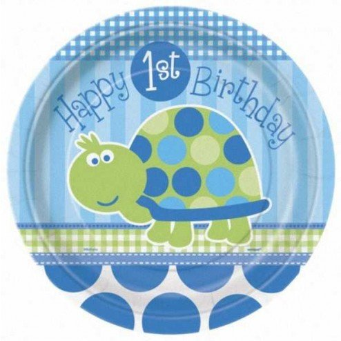 Turtle 1st Birthday Large Paper Plates (8ct) -