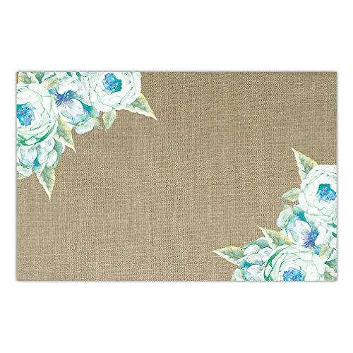 (DB Party Studio Country Rustic Paper Place Mats 25 Pack Pretty Blue Flowers Graduation Engagement Birthday Parties Indoor Outdoor Casual Table Settings Disposable Tableware Decor 17
