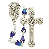Capped Blue Dyed Glass Prayer Bead Rosary with Praying Madonna Center, 23 Inch
