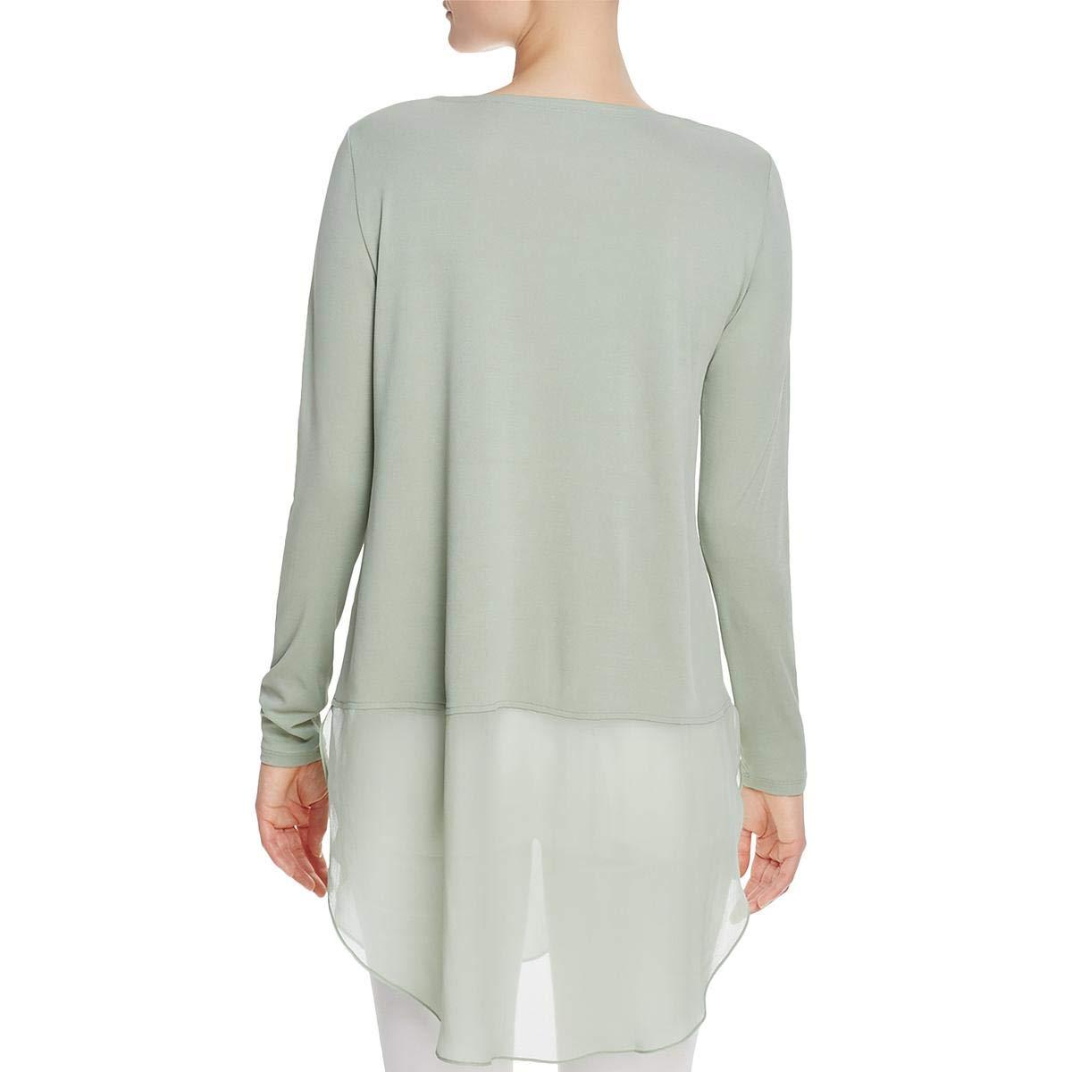 Eileen Fisher Womens Petites Silk Bateau Neck Tunic Top
