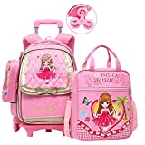 Adanina 3Pcs Cute Princess Wind Rolling Backpack Elementary Students Wheeled Book Bag Primary School Bag Girls Carry-on Luggage Bag with Tutorial Bag&Pencil Case