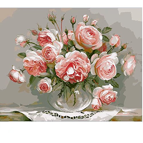 SUBERY Paintworks DIY Oil Painting Paint By Number Kits for Adults Kids Beginner - Blooming Peony 16x20 inches (Without Frame) (Peonies Number By Paint)