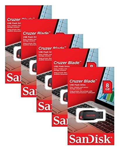 SanDisk Cruzer Blade 8GB (5 pack) SDCZ50-008G USB 2.0 Flash Drive Jump Drive Pen Drive SDCZ50 - Five Pack
