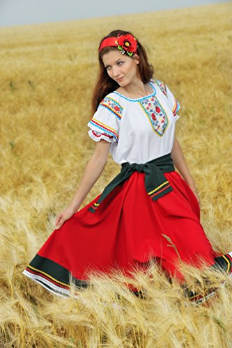 Folk dress dance costume Ukrainian traditional wear red circle skirt white blouse]()