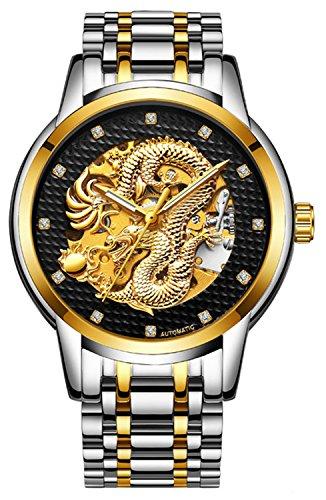 - Mens Top Brand Luxury Gold Dragon Automatic Mechanical Watch Casual Waterproof Sport Fashion Wristwatch (Silver Gold Black)