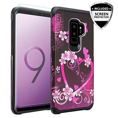 GALAXY WIRELESS Compatible Cases For Samsung Galaxy S9 Plus Case Screen Protector Dual Layer Hybrid Shock Proof Heavy Duty Case Cover Protective Phone Cases for Galaxy S9 Plus, Hot Pink Heart