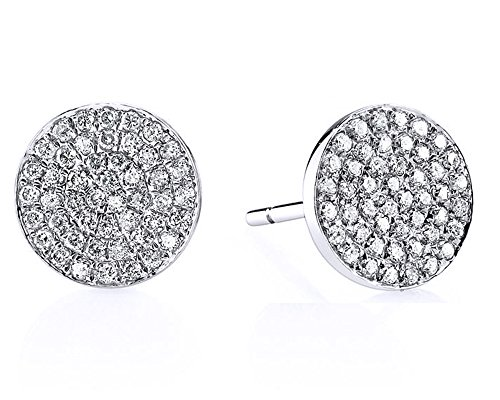 Round Pave Set Heart Earrings (Pave Set Round White Cubic Zirconia Flat Disc Stud Earrings in 18K White Gold Over Sterling Silver)
