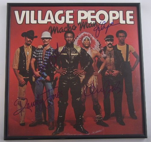 Village People Gay Costume (Village People Macho Man +4 Group Signed Autographed Lp Record Album with Vinyl Framed Loa)