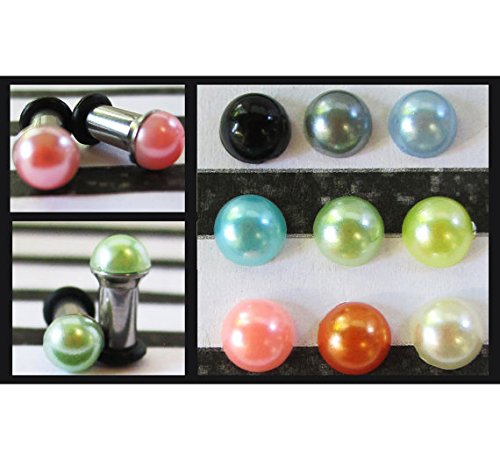 Precious Pearls on a Stainless Steel wedding EAR TUNNELS you pick the color and plug gauge size - 12g, 8g, 6g, 4g aka 2mm, 3mm, 4mm, 5mm (Wedding Gauges)