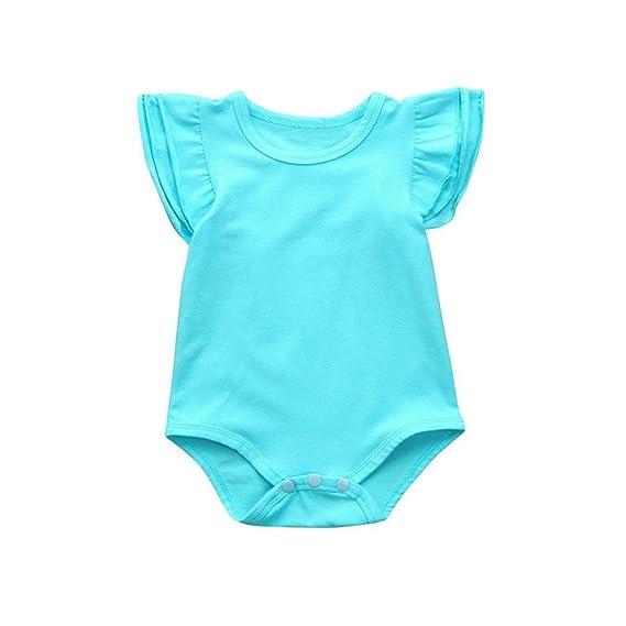 POLP Bebé Monos ө•♡ Mameluco sin Mangas de Color Sólido del Pequeña Recién Nacido