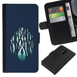 LECELL--Cuero de la tarjeta la carpeta del tirón Smartphone Slots Protección Holder For LG G3 -- Chica en el bosque emotivo --