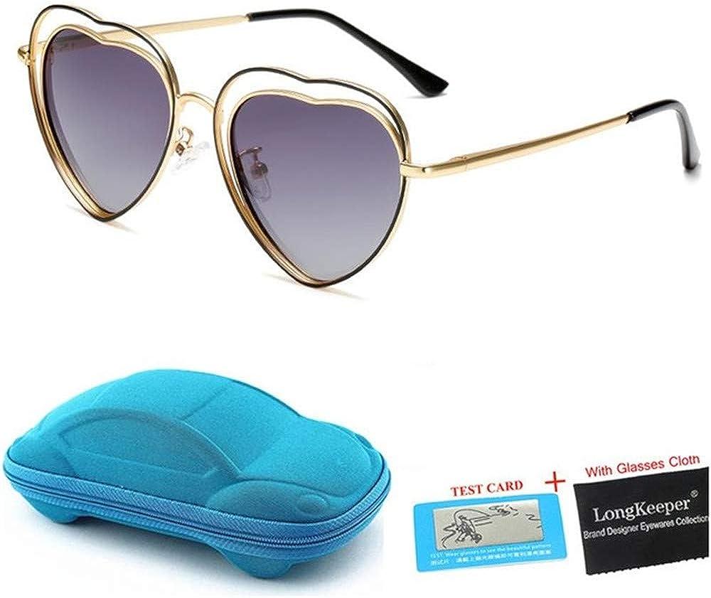 Wang-RX Gafas de sol polarizadas para niños con forma de corazón Gafas de sol con estuche para niños Marco de metal doble Gafas UV400 Regalo 6colors: Amazon.es: Ropa y accesorios