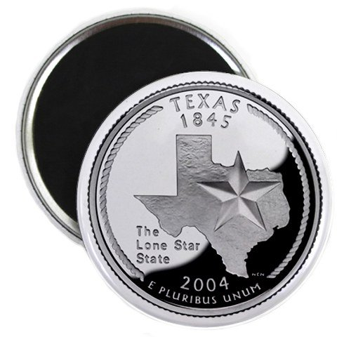 Texas State Quarter Mint Image 2.25 inch Fridge Magnet