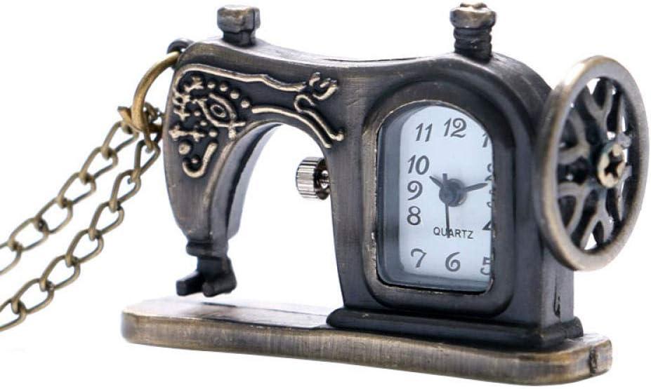 HANXIAO Relojes de Bolsillo Mini Relojes de Cuarzo de Bronce Antiguo Máquina de Forma de Coser Reloj de Bolsillo de Moda Collar Colgante con Cadena Larga
