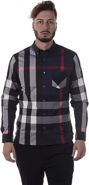 Burberry 40458361 - Camisa de manga larga de algodón para hombre, color azul marino navy 3XL: Amazon.es: Ropa y accesorios