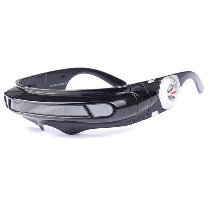 6477a4e2e0ef0 Futuristic Cyclops Monoblock Shield Mirrored Polarized Sunglasses UV400 ( Black