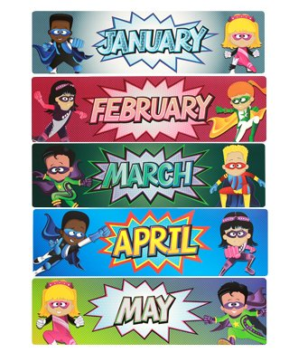 Renewing Minds Superheroes Monthly Calendar Headers, 5 x 16 Inches, Multi-colored, 12 Pieces