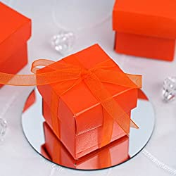 Efavormart 100 Boxes Orange 2 pcs Favor Boxes for Candy Treat Gift Wrap Box Party Favor Boxes for Bridal Shower Wedding Party