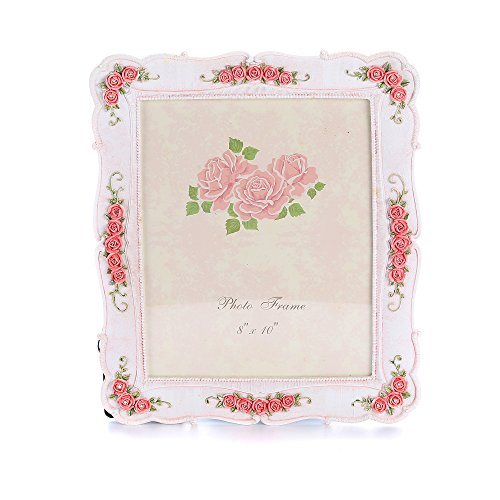 ETECHMART Unique Handcrafted Floral 10x12 Picture Frame Holds 8x10 Photos Pink- Standing or (Floral Photo Frame)