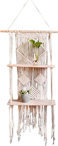 HEFUTE Macrame Wall Hanging Woven Tapestry New Pattern Boho Bohemian Style Home Wall Decor for Dorm, Apartment, Bedroom, Kitchen, Living Rooms Double Layer
