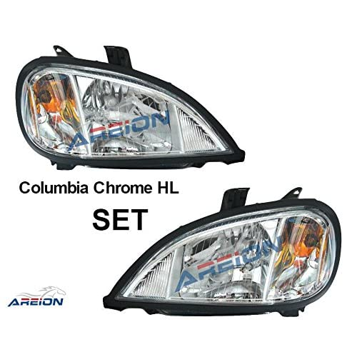 freightliner columbia headlight set | chrome housing | passenger and driver  side | 2004-2011 models | wire harness and bulbs included | direct oem