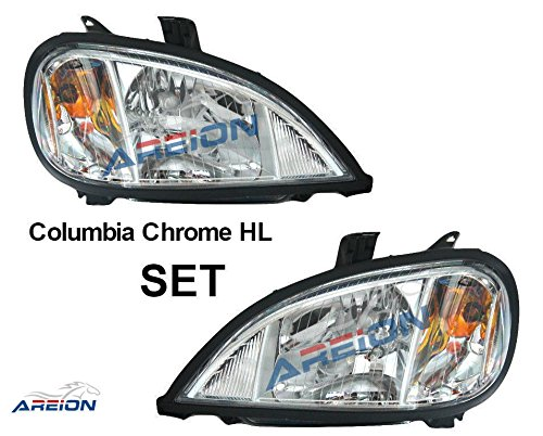 Freightliner Columbia Headlight Set | Chrome Housing | Passenger and Driver Side | 2004-2011 Models | Wire Harness and Bulbs Included | Direct OEM Replacement A0675737003 & A0675737002 | Areion