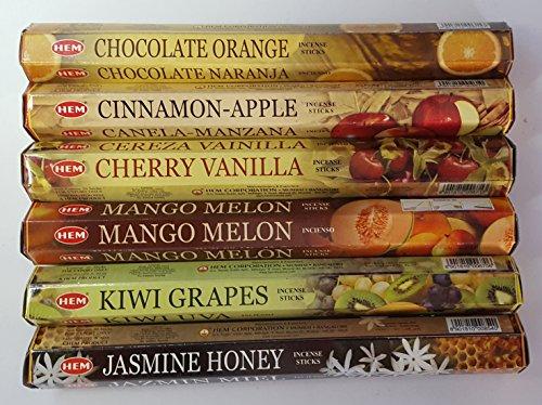 HEM Favorite Combination Scents #1 Collection/Assortment - Cherry Vanilla, Chocolate Orange, Cinnamon Apple, Jasmine Honey, Kiwi Grapes, and Mango Melon - Six 20 Stick Tubes, 120 Sticks Total