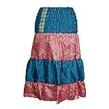 Mogul Interior Women's Skirts Blue Printed Sari Silk High Waist Skirt S