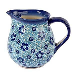 Traditional Polish Pottery, Handcrafted Ceramic Cream or Milk Jug 275ml, Boleslawiec Style Pattern, J.101.Flow
