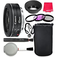 Canon EF 40mm f/2.8 STM Lens For Canon SL1 T6 T6s T6i 7D Mark II 80D 70D 6D 5D Mark III Mark IV 5DS 5DS R DSLR Cameras + Complete Accessory Kit - International Version (No Warranty)