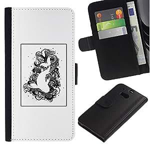 APlus Cases // HTC One M8 // Arte Negro Blanco dibujo Peces Natación // Cuero PU Delgado caso Billetera cubierta Shell Armor Funda Case Cover Wallet Credit Card