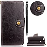 Huawei P10 Lite Case,WIWJ Elegant Retro Flip PU Wallet Case Slim Soft Cover Case Luxury Graceful Stand Magnetic with Card Holder Business Use Detachable Case for Huawei P10 Lite - Black