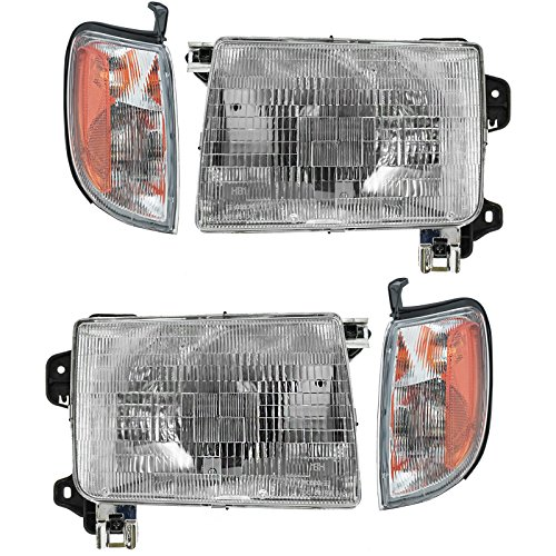 (Headlight Corner Light Lamp LH RH Left Right Kit Set of 4 for 98-00 Frontier)