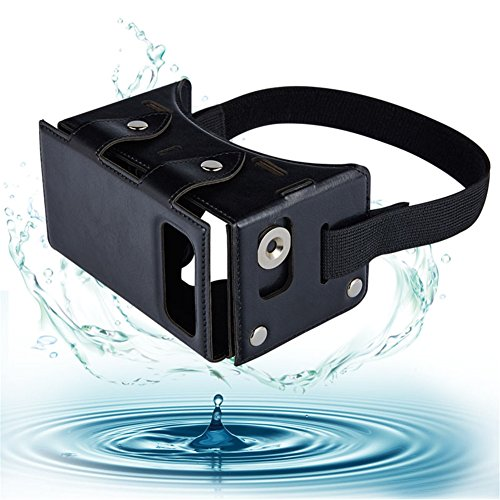"""Sminiker Waterproof Google Cardboard Kit,PU leather DIY 3D Glasses,3D Vr Virtual Reality Glasses ,Google Box for iPhone Samsung and Other 4.0-5.5"""" Smartphones With Headband (Black)"""