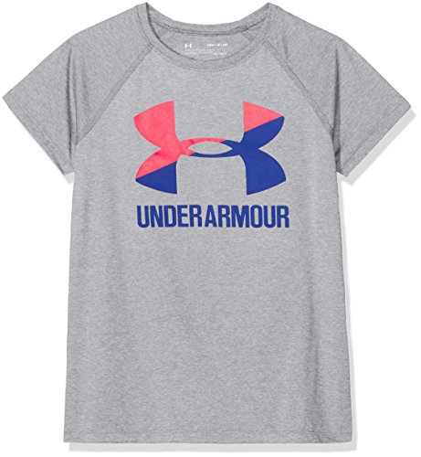 (Under Armour Girls Solid Big Logo Short Sleeve T-Shirt, Steel Light Heather , Youth Large)