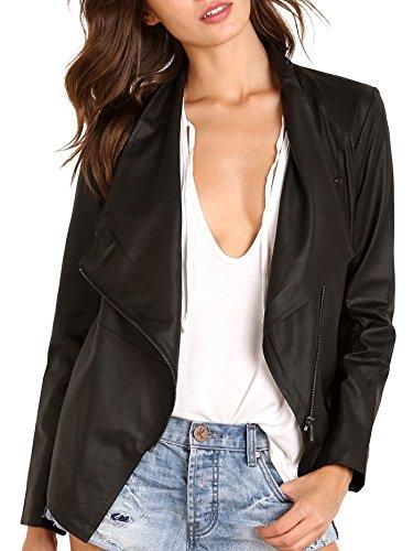 BB Dakota Women's Derby Drapey Leather Jacket, Black, Small (Bb Dakota Leather Jacket)