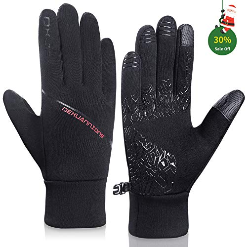 Lapulas Winter Gloves for Mens Womens Running Gloves Thermal Touchscreen Windproof Warm for Cycling Riding Driving Climbing Black (Black-Red, ()