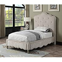 Emerald Home Starry Night Sandstone Cream Upholstered Bed with Crystal Accents, Scalloped Base, And Nailhead Trim, Twin