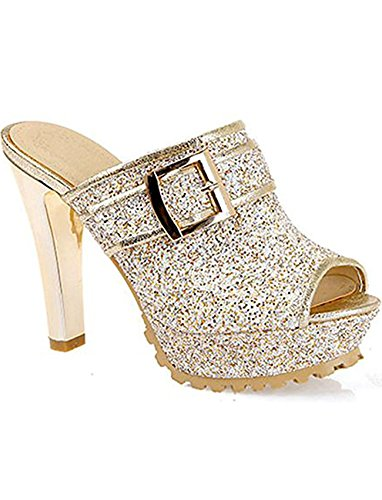Sexy Platform Mules - Seoia Women's Sexy Sequined Super High Heels Chunky Platform Sandals Slip On Mules 0618D