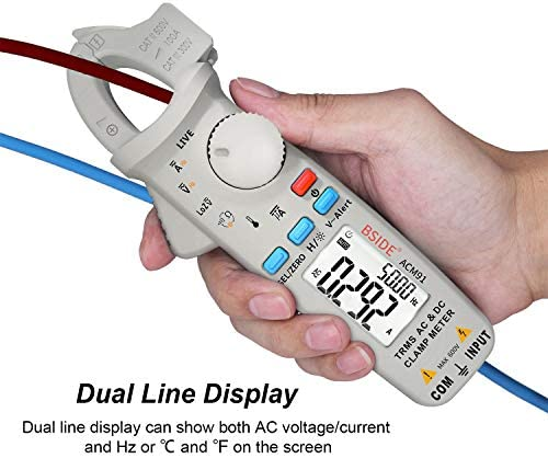BSIDE ACM91 1mA Clamp Meter AC/DC Current TRMS Auto-Ranging 6000 Counts Multimeter Capacitance Live Check V-Alert Tester with Pocket Clip