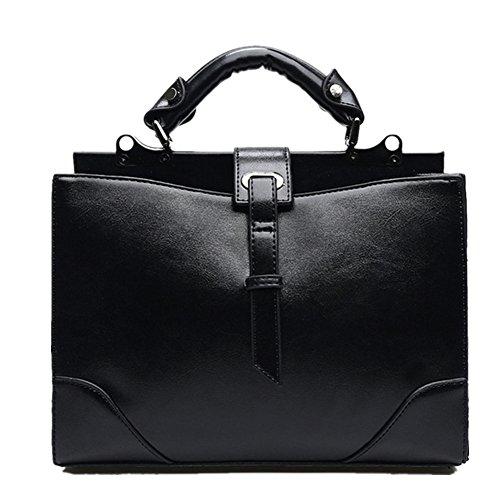 fanhappygo Fashion Leder Damen elegant Retro Ärzte Tasche Umschlag Schulterbeutel Umhängetaschen Abendtaschen schwarz FFIcO3W
