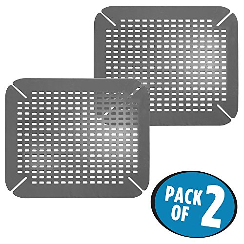 mDesign Adjustable Kitchen Sink Protector Mat - Pack of 2, Charcoal