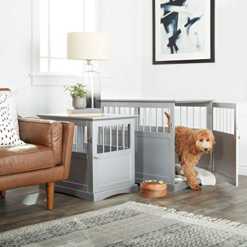 Grey Wood Dog Crate Table Kennel Decorative Wooden End Table Indoor Furniture Hidden Enclosure Modern Durable