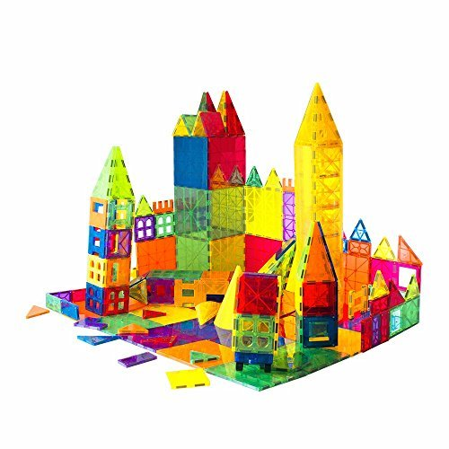 Mag-Genius Award Winning building Magnet Tiles Toy Clear Colors 3D Brain Building Blocks Set With All New Cylinder Design True 3D Building Blocks 141 + 2 bonus Piece Set With ()