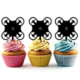 TA0053 Drone Silhouette Party Wedding Birthday Acrylic Cupcake Toppers Decor 10 pcs