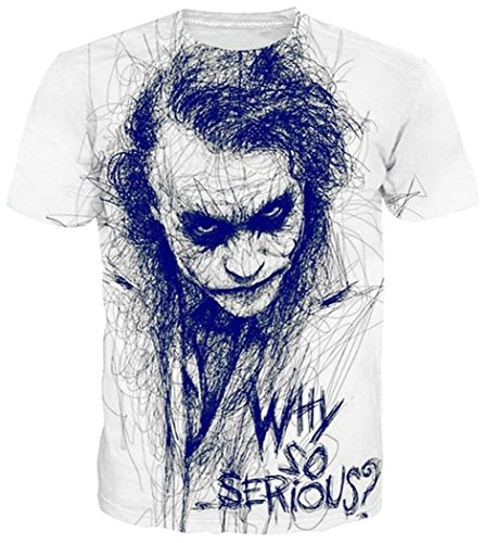 (Chiclook Cool Summer Fashion Joker Why So Serious T-shirt Women Men Harajuku Funny Print 3d T Shirt,)